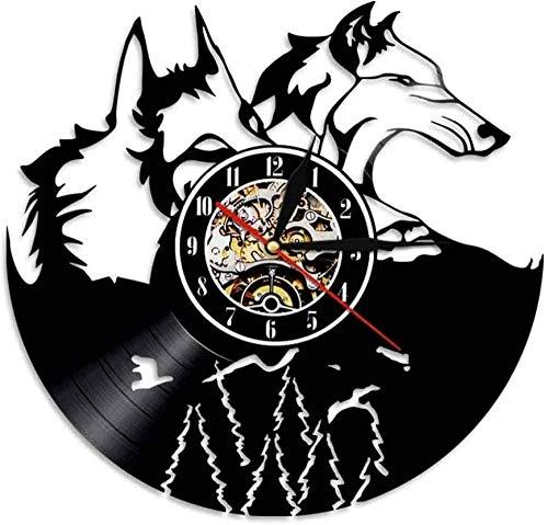 Relojes De Pared Disco De Vinilo Retro De Animales, Lobo De Plástico Negro, Decoración De Personalidad De Estilo Europeo Retro, Reloj De Pared, Lámpara De Regalo Con Espíritu De Lobo