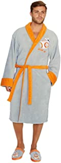 Officially Licensed Men's BB-8 Adult Embroidered Fleece Bathrobe Gown Grey