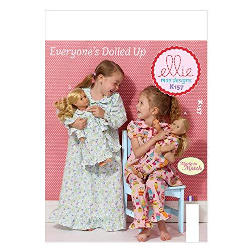 Kwik Sew Pattern K0157 XXS, extra klein, 3, 4, 5, 6, 7, 8, 10 en meisjes, pop passende Multi Color, ronde hals