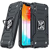 """JAME Case for iPhone Xs Max Phone Case with Screen Protectors x 2, Military-Grade Drop Protection, Protective Phone Cases, Car Mount Ring Kickstand Shockproof Bumper Case for iPhone Xs Max 6.5"""" Black"""