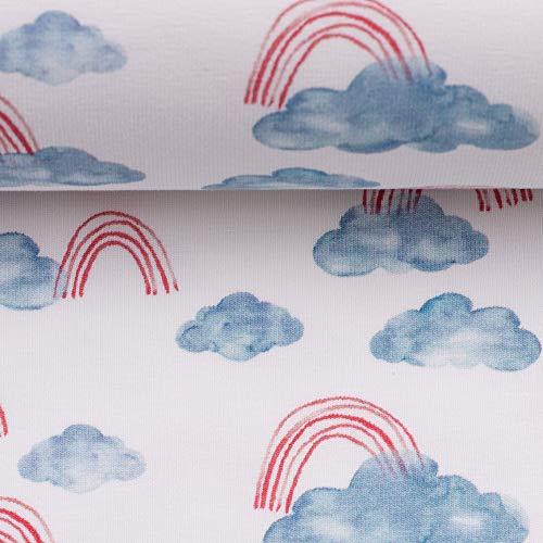 Swafing Ocean Breeze - Tela de algodón (Certificado Ökotex, 50 x 155 cm), diseño de arcoíris, Color Blanco