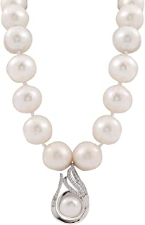Tsful Freshwater Cultured Pearl Necklace for Women in 19.5 Inch Length Sterling Silver Clasp