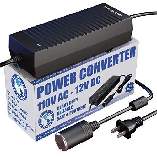 P.I. AUTO STORE Premium 110V / 120V AC - 12V DC Power Converter/Adapter/Transformer 10 Amp. FCC & CE Approved use with 12V Max 10 amp Cigarette Lighter Accessories