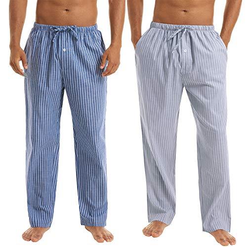 Irevial 2 Piezas Pantalones Largos de Pijamas para Hombre, 100% Algodón Cómodo Raya Pantalón por...