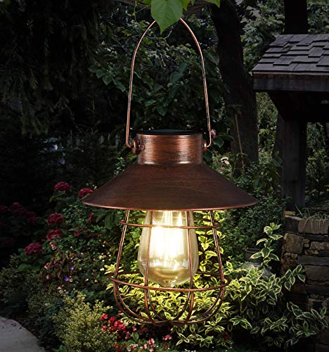 Hanging Solar Lights Outdoor -Vintage Solar Powered Lantern Waterproof Retro Solar Lamps with Warm Light Edison Bulb for Patio,Yard,Garden and Pathway Decoration(Copper)