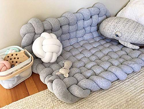 Kids New Handmade Knotted Braided Area Rug Playmat Soft Cushion, Baby Anti-Slip Crawling Mat Woven Carpet, Photography Props, Kids Room Decorations,Grey
