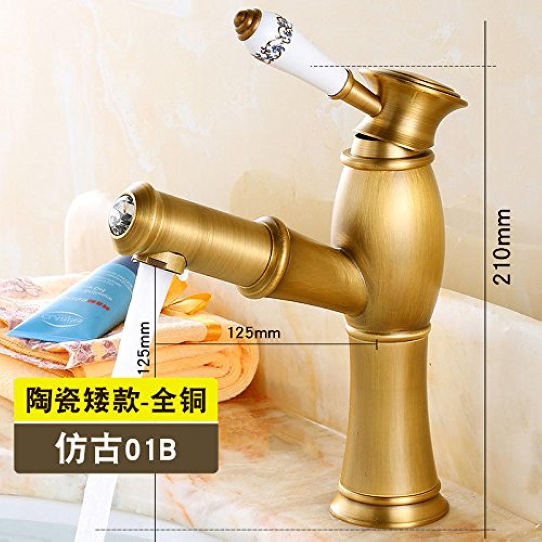 ETERNAL QUALITY Badezimmer Waschbecken Wasserhahn Messing Hahn Waschraum Mischer Mischbatterie Tippen Sie auf die Skala - Kupfer Waschbecken Gold Ziehen Waschbecken Wasse