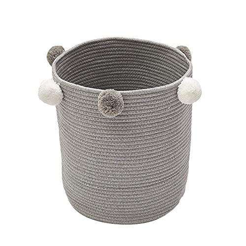 NZNZ Papelera de Almacenamiento de Juguetes de Lona cilíndrica de la arpillera, la Mejor decoración de la habitación y el Organizador de Hamper (Color : Light Grey)
