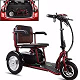 JJGS Mobility Scooters - Folding Electric Trikes, 48V 20Ah Removable Lithium Battery, with Safety Warning Light, 350W Mobility Scooters, Suitable for the Elderly/Disabled Outdoor Travel 48V/12AH/4OKM