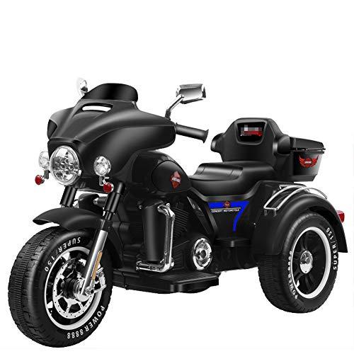 QqHAO Triciclo de Motocicleta eléctrica Harley para niños, batería de bebé para...