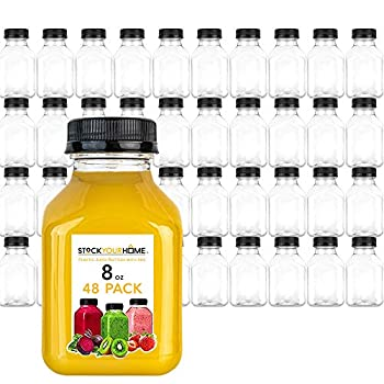 Stock Your Home Plastic Juice Bottles 8 Oz with Lids Juice Drink Containers with Caps for Juicing Smoothie Drinking Cold Beverages 8 Oz Bottles with Caps 48 Count