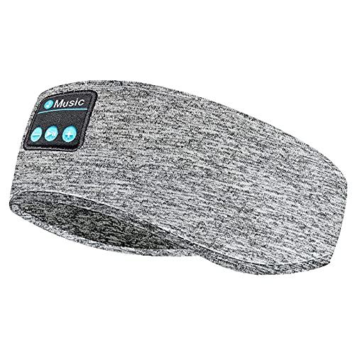 ACCOF Auriculares para Dormir,Bluetooth 5.0 Deportes Diadema con Ultrafinos HD Estéreo Altavoces,Deportiva Auriculares para Dormir de Lado,Deportes,Viajes Aéreos y Relajación (Gris)