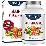Multivitamines et Minéraux - 450 Comprimés de Multivitamines (plus d'12 an d'approvisionnement) - Vitamine pour Homme et Femme - Toutes les Vitamines Essentielles dans un comprimé de GloryFeel