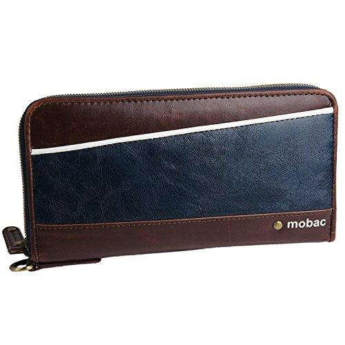 [モバック] mobac 長財布 ラウンドファスナー ジャバラ ツートンカラー アコーディオン (ネイビー)