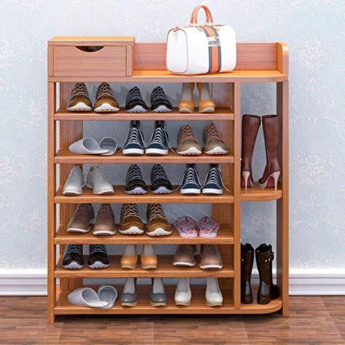 JIADUOBAO Zapatero grande para zapatos, soporte apilable de madera, multifunción, alto ahorro de espacio vertical (color: marrón)