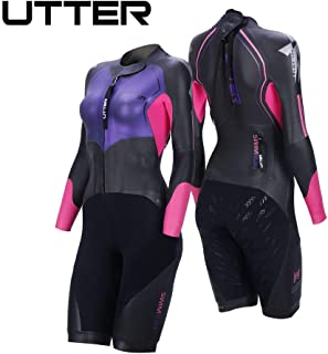 UTTER Traje de baño de neopreno para mujer, con piernas cortas, piel suave, traje de triatlón Yamamoto, traje de neopreno para surf, traje de baño