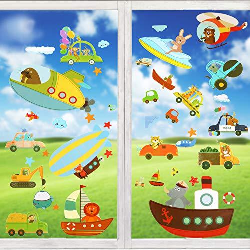 Wimaha Fensterbilder Autos Raumschiff Tiere Fensterfolien Fenstersticker Fensteraufkleber für Wohnzimmer Schlafzimmer Kinderzimmer,30x40cm