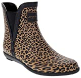 LONDON FOG Womens Piccadilly Rain Boot Leopard 7 M US