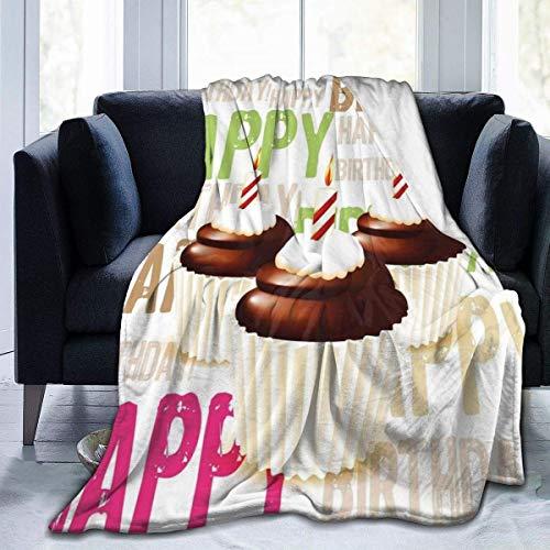 TEGUJ Manta de forro polar de franela, patrón grunge feliz cumpleaños con tres velas de chocolate y suaves mantas de microfibra