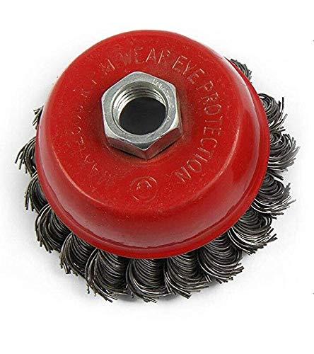 HKB® Topfbürste Außen-ø75mm, Gewinde M14, Besatzlänge 2 cm, Draht gezopft, max. U/min 12500, Oberflächenbearbeitung Entrosten Entlacken, 18 Zöpfe