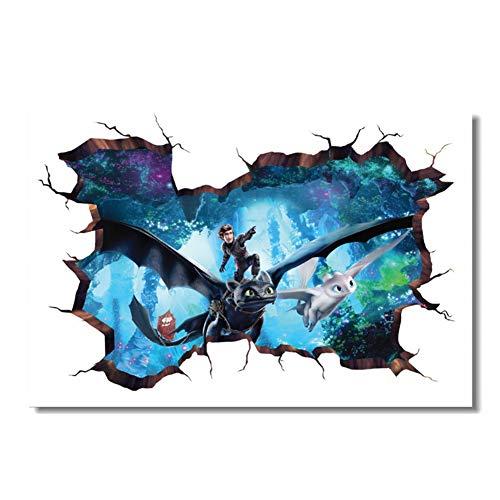 Benutzerdefinierte Druck Wandbild Drachenzähmen 3 Poster 3D Wandaufkleber Zahnlos Tapete Wohnzimmer Aufkleber 60x90 cm