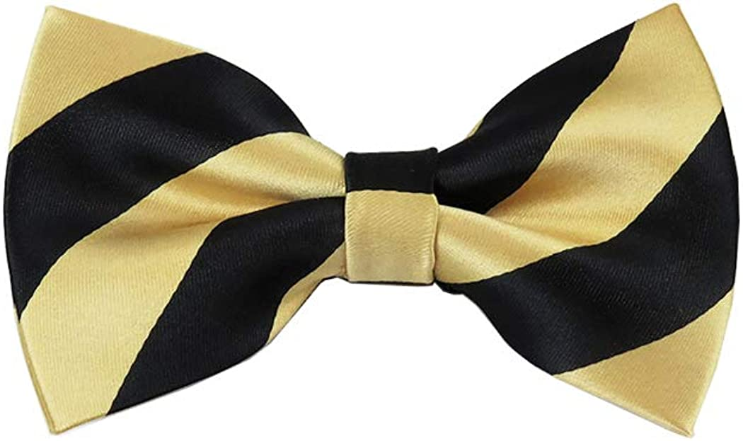 Black and Honey Gold College Stripe Pre-Tied Bow Tie