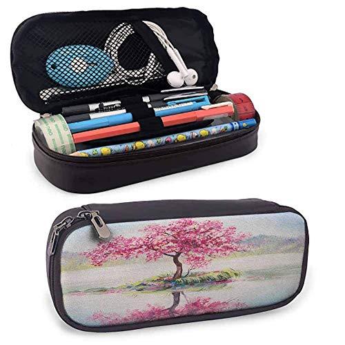Custodia con cerniera in pelle PU country Immagine di ciliegio giapponese in fiore Sakura sul lago Stampa morbida cultura romantica