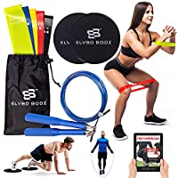 5 Resistance Bands 2 Core Foot Sliders 1 Skipping Rope Set of 9  for Leg Booty or Full Body –ELV8D BODZ   Exercise & Fitness Equipment for Home Gym Cardio and Strength Training. E-Book Included. from ELV8D BODZ