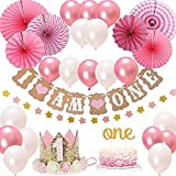 Queta 1er Anniversaire Fille décorations Ensemble, fête d'anniversaire de bébé Fille fête Couronne de gâteau d'or , Un, Je suis Un, Fan de Papier Suspendu Fleur et Ballons de Fournitures de fête