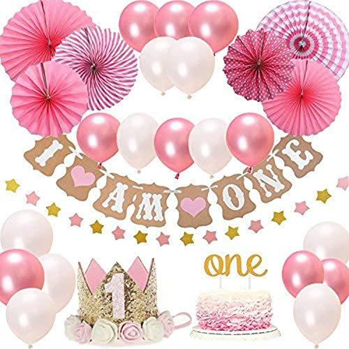 Tolyneil baby meisjes eerste verjaardag decoratieset, prinses roze theme kit, 1 jaar tiara crown hoed, cake topper, ballons, banner, meer decoratieve accessoires