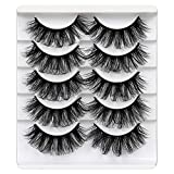 ALICROWN Mink Lashes Faux Wispy Natural Volume Lashes Pack 5D Fluffy Crossed False Eyelashes Full Handmade 5 Pairs Lashes