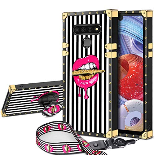 JAKPAK Case for LG Stylo 6 Case with Kickstand for Girls Women Soft TPU Luxury Stylo 6 Case with Strap Shockproof Protective Heavy Duty Metal Cushion Reinforced Corner Case for LG Stylo 6 Pink Lip