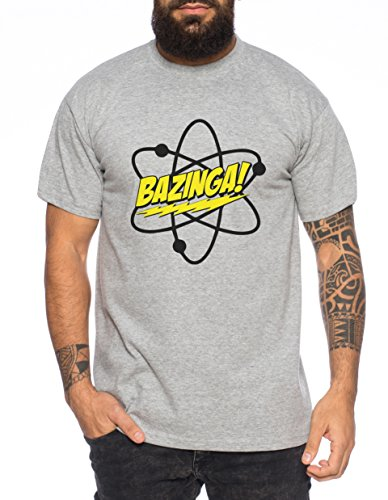 Big Bazinga Science Bang Theory Nerd Uomo T-Shirt, Farbe2:Dunkelgrau Meliert;Größe2:M