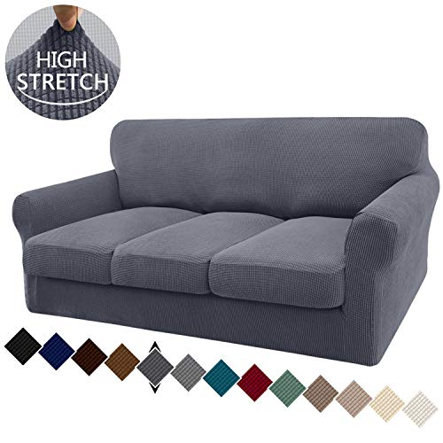 Granbest 4 Piece High Stretch Couch Covers for 3 Cushion Couch Super Soft Fitted Sofa Slipcover Non-Slip Sofa Cover Furniture Protector with Individual Cushion Covers (Large, Gray)