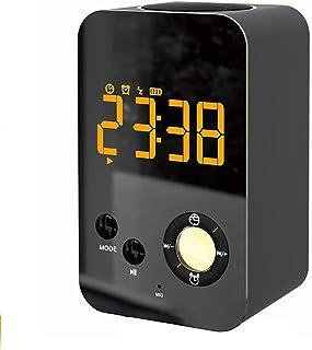 ブルートゥーススピーカーの目覚まし時計、LED大型ディスプレイミラーナイトライトラジオポータブルタッチ調光ワイヤレスベースサブウーファーMP3プレーヤーデスクハンズフリーTF AUXスヌーズベッドサイドトラベルブラック