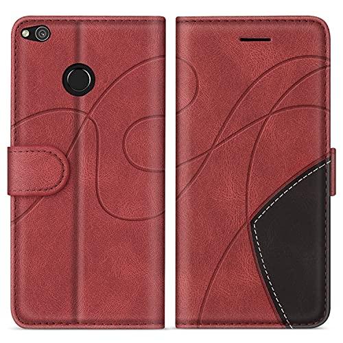 SUMIXON Hülle für Huawei P8 Lite 2017 / P9 Lite 2017 / Honor 8 Lite, PU Leder Brieftasche Schutzhülle für Huawei P8 Lite 2017, Kratzfestes Handyhülle mit Kartenfächern & Standfunktion, Rot