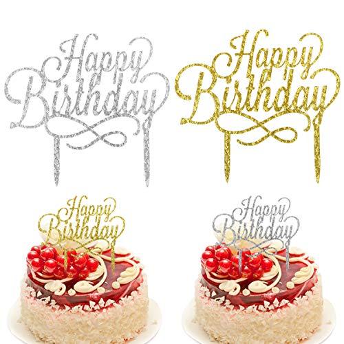 Coriver 10 St/ück Happy Birthday Cake Topper Acryl Glitter Cupcake Topper f/ür Geburtstagstorte Dekorationen