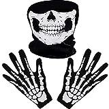 Weiße Skelett Handschuhe und Schädel Gesichtsmaske Geist Knochen für Erwachsene Halloween Tanzen...