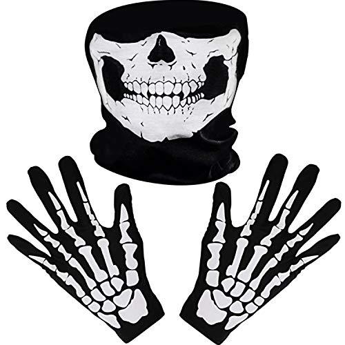 Bianco Scheletro Guanti e Teschio Viso Maschera Fantasma Ossa per Adulti Halloween Costume Danza Festa (1)