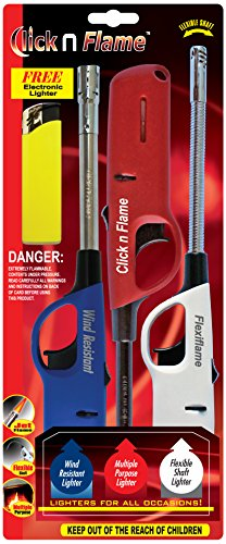 Click n Flame Multi Purpose Lighter - 3 Pack - Flexible Shaft - Multi Purpose - Wind Resistant Lighters