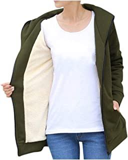 Womens Composite Coats Winter Warm Outwear Solid Hooded with Pockets Cardigan Beautyfine
