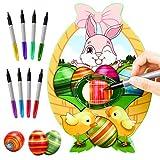 Gifort Decoratore di Uova di Pasqua, Macchina per Decorare Uova di Pasqua Fai-da-Te con Spinner, Include 8 Pennarelli Colorati Ad Asciugatura Rapida, Giocattoli per Bambini, Regalo di Compleanno