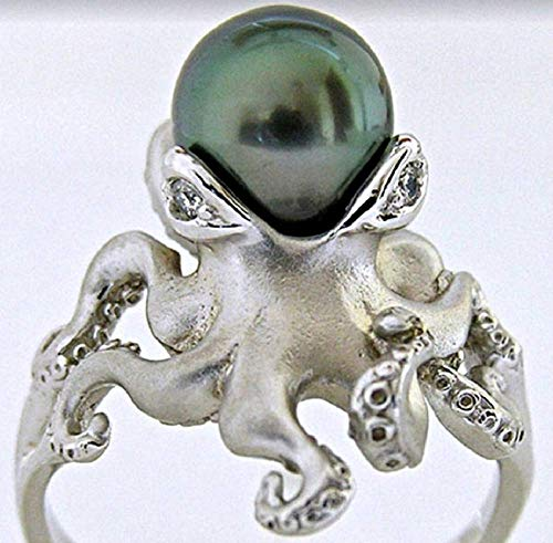 Finemall Women Retro 925 Silver Green Pearl Octopus Rings Wedding Engagement Anniversary Size 6-10 and 100% Brand New (US 8)