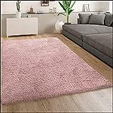 Paco Home Morbido Tappeto a Pelo Lungo per Soggiorno Shaggy Moderno con Effetto flokati, Tinta Unita, Dimensione:60x100 cm, Colore:Rosa