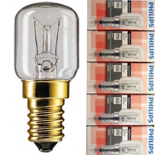 Paquet de 5 ampoules Philips pour four, E14 230 V SES 57 x 25 mm, 2 700 K, EEK = E (énergie de classe E), E = 25 W