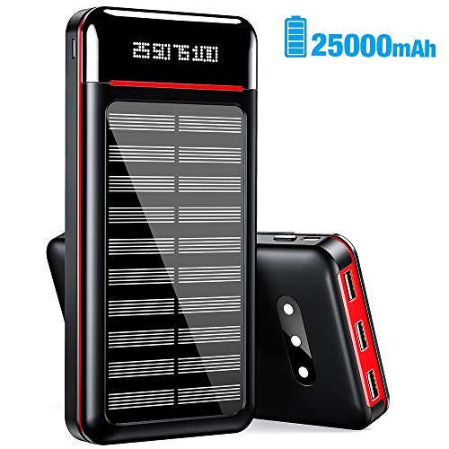Solar Charger 25000mAh Power Bank Portable Charger Battery Pack with 3 Outputs...