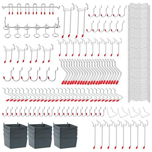 Pegboard Hooks Surtido, Peg Board Hook Attachments Conjunto y organización Storage Tienda Tools, para Organizar Varias Herramientas ( 230 piezas)