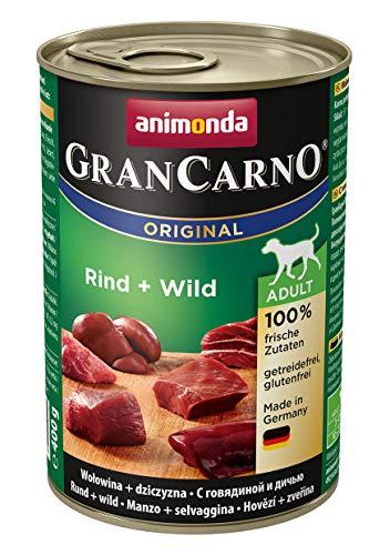 Animonda Gran Carno adult Hundefutter, Nassfutter für erwachsene Hunde, Rind + Wild,  6 x 400 g