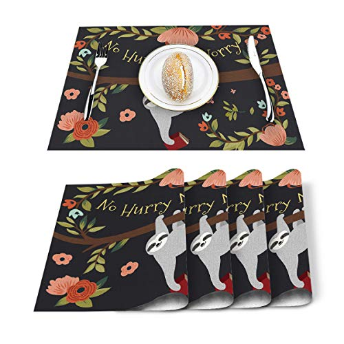 Floral Sloth Placemat Table Mats Set of 6, Burlap Linen Linen Placemats Set for Kitchen and Dining, Heat Resistant Anti-Skid Washable Non-Slip Insulation Table Mat No Hurry No Worry Flower Lazy Animal