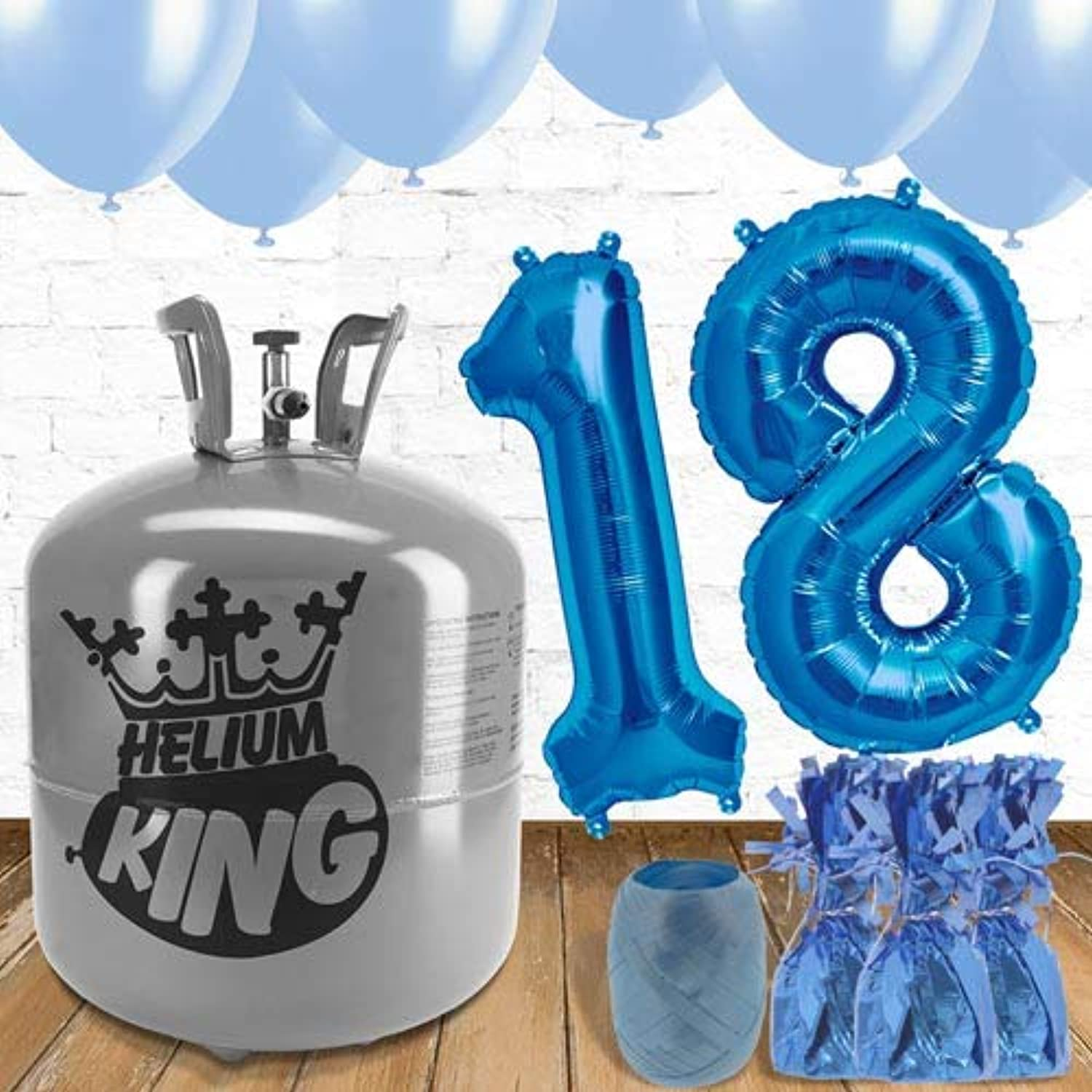 18th Birthday Helium Gas Package with bluee Balloons
